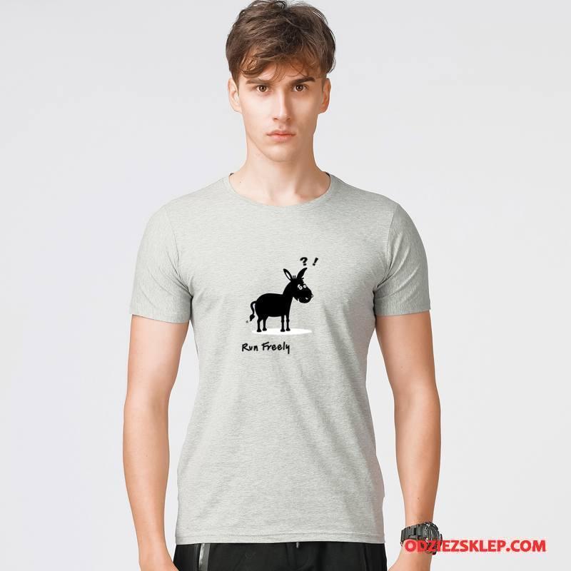 Męskie Koszulki Tendencja Lato Krótki Rękaw Wiosna Męska Nowy Szary Jasny Kup
