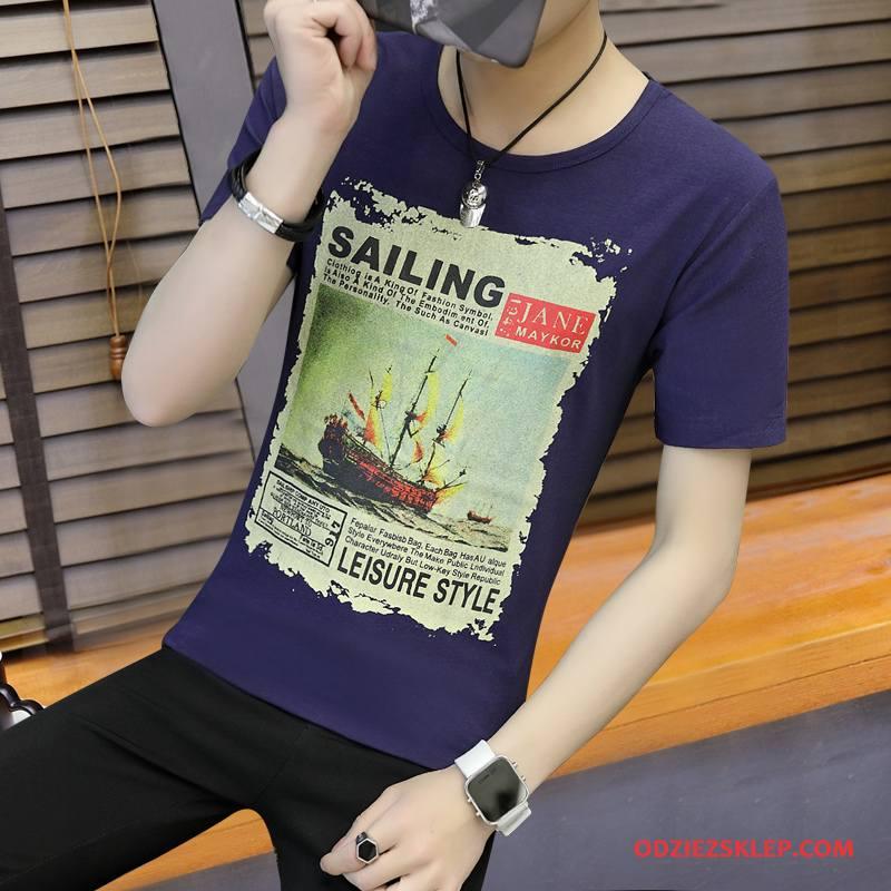 Męskie Koszulki Topy Lato Krótki Rękaw T-shirt Tendencja Męska Czysta Niebieski Kup