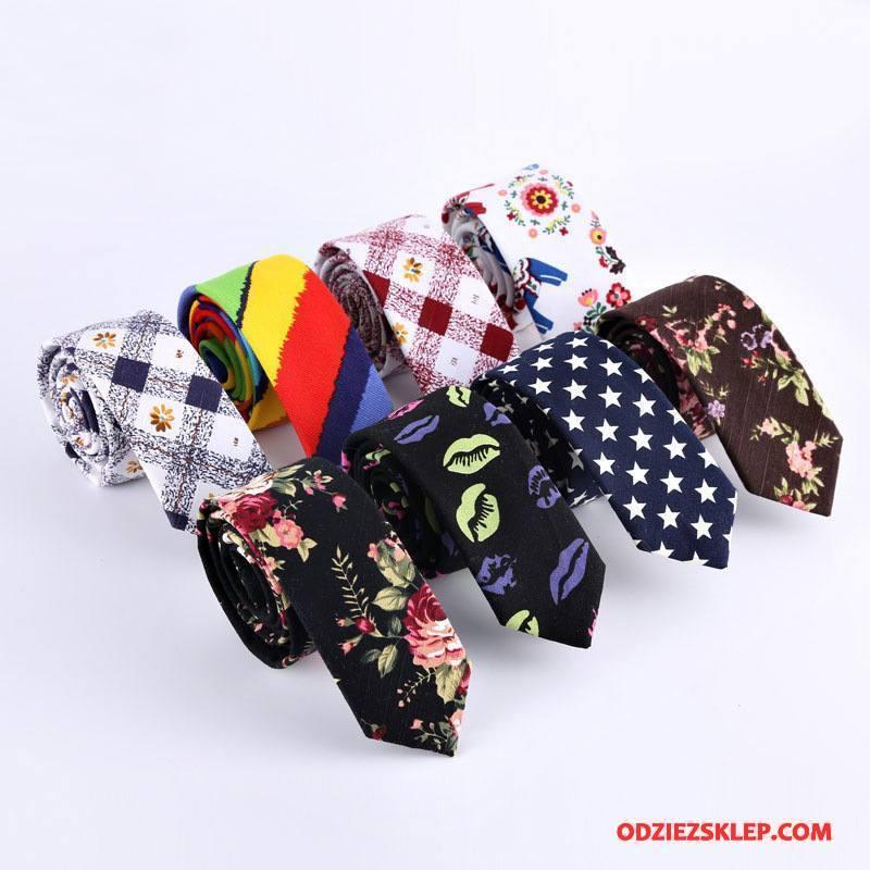 Męskie Krawat Bawełna Bawełna I Len 5 Cm Wąskie Moda Kolor Czarny Sprzedam