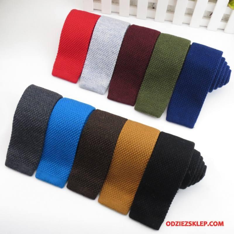 Męskie Krawat Butik Męska Dzianina Wełna Wąskie Brytyjski Kolor Czysta Tanie