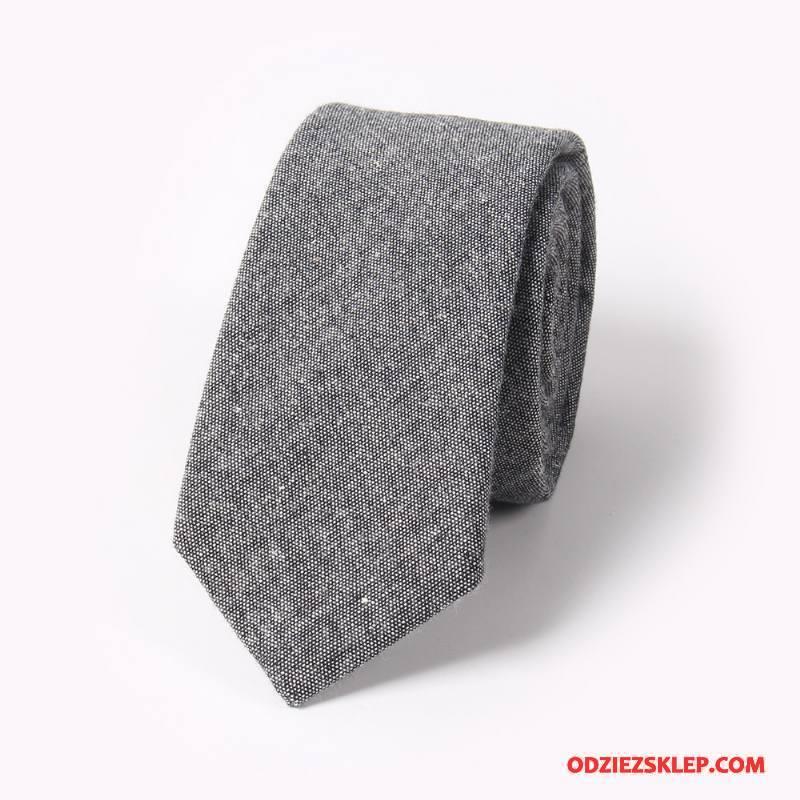Męskie Krawat Casual Bawełna I Len Męska Wąskie 5 Cm Czysta Szary Tanie