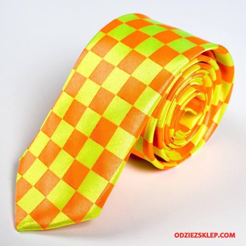 Męskie Krawat Krata Trendy 5 Cm Sukienka Biznes Brytyjski Czarny Żółty Sprzedam