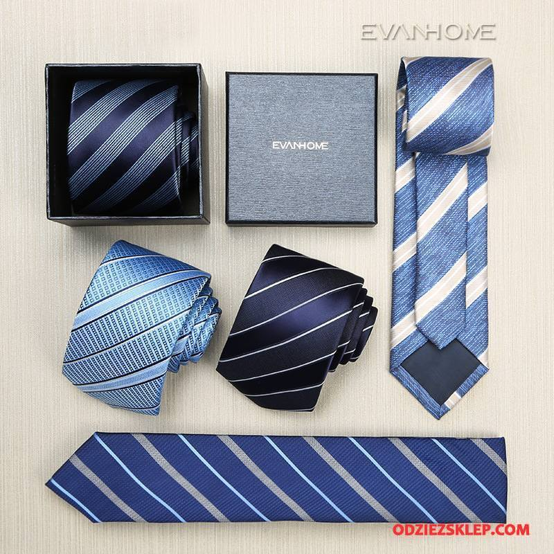 Męskie Krawat Sukienka Męska Z Pracy 7 Cm W Paski Biznes Granatowy Niebieski Kup