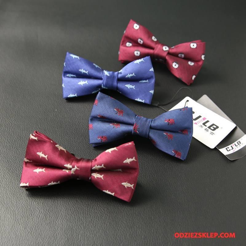 Męskie Krawat Trendy Moda Wzór Męska Brytyjski Muszka Czerwony Tanie