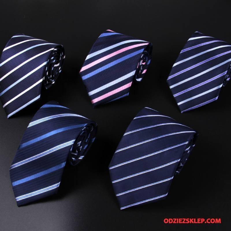 Męskie Krawat W Paski Sukienka Męska Biznes Jedwab Kwiaty Kolor Niebieski Sklep
