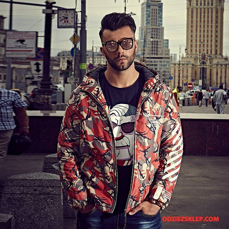 Męskie Kurtka Bawełniana Duże Ubrania Bawełniane Bawełniana Kurtka Płaszcz Z Kapturem Ciepłe Kamuflaż Czerwony Na Sprzedaż