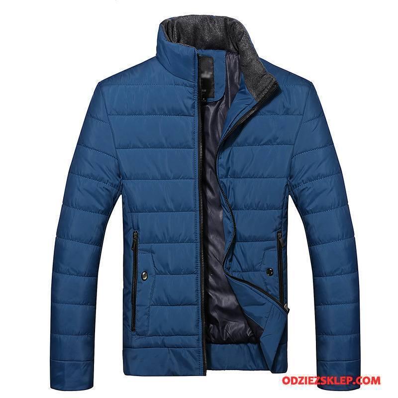 Męskie Kurtka Bawełniana Ubrania Bawełniane Męska Zima Dla Grubych Moda W Średnim Wieku Niebieski Sprzedam