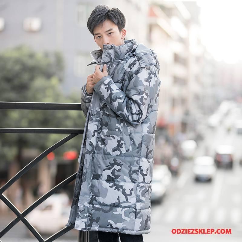 Męskie Kurtka Bawełniana Zima Casual Ubrania Bawełniane Kurtka Puchowa Długie Ciepłe Kamuflaż Biały Online