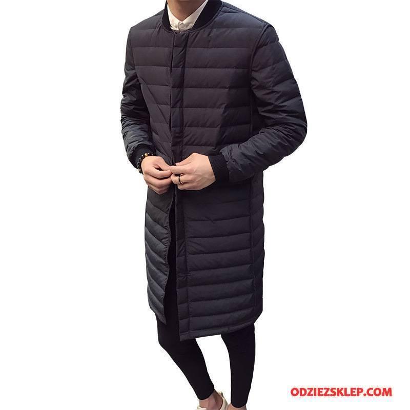 Męskie Kurtka Puchowa Moda Zima Wysoki Koniec Męska Długi Rękaw Płaszcz Biały Czarny Tanie