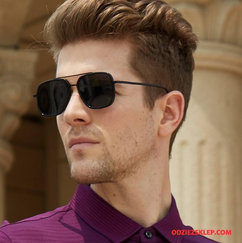 Męskie Okulary Przeciwsłoneczne Kolorowe Kwadratowy Męska Polaryzator Moda Dla Kierowców Czarny Tanie