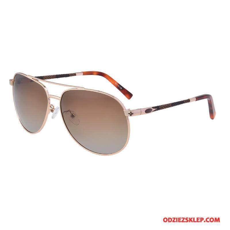 Męskie Okulary Przeciwsłoneczne Moda Vintage Ropucha Polaryzator Jakość Klasyczny Złoty Brązowy Jasny Sklep
