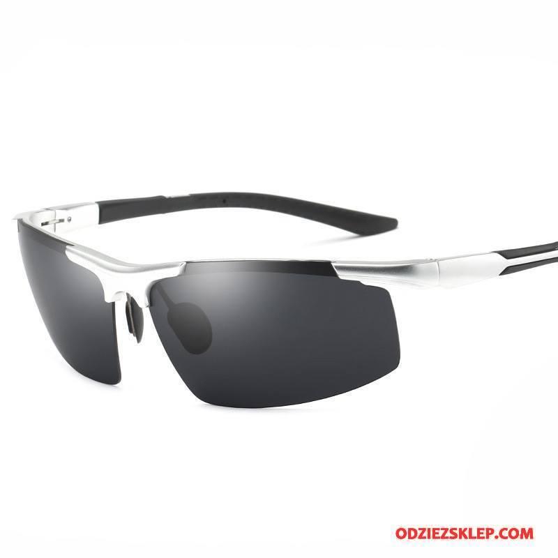 Męskie Okulary Przeciwsłoneczne Sportowe 2018 Aluminium Magnezu Jeździć Na Rowerze Polaryzator Klasyczny Srebrny Tanie