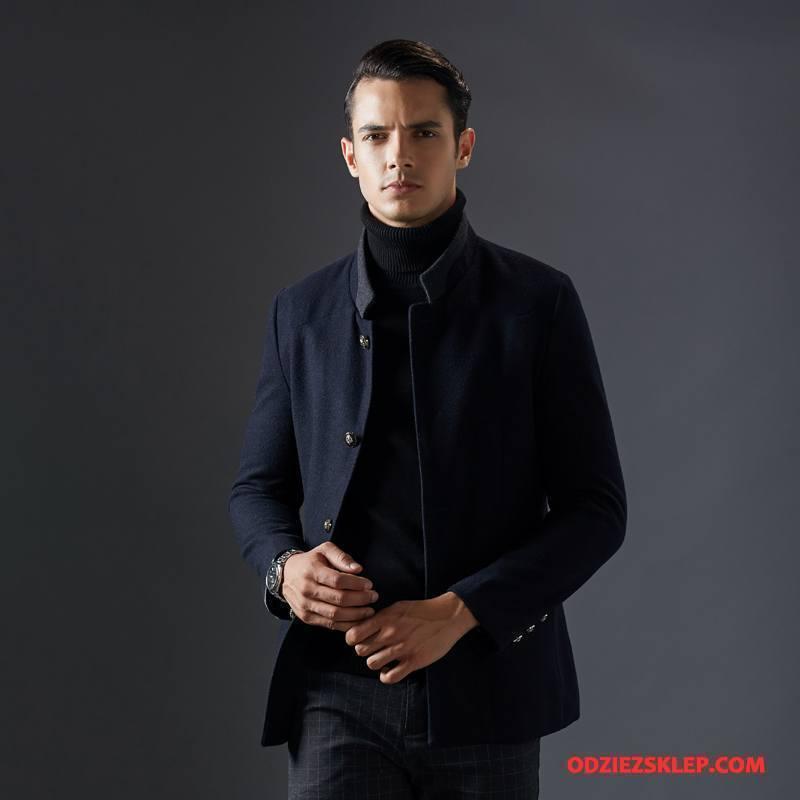 Męskie Płaszcze Krótki Z Wełny Casual Biznes Ciemno Niebieski Na Sprzedaż