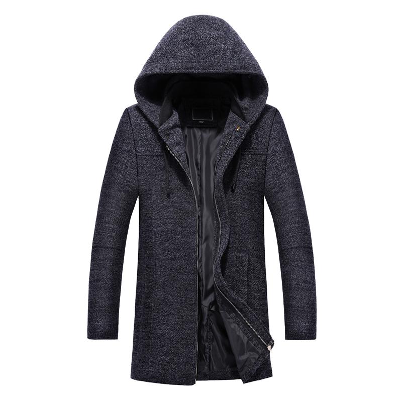 Męskie Płaszcze Moda Z Wełny Długie Szary Ciemno Sprzedam