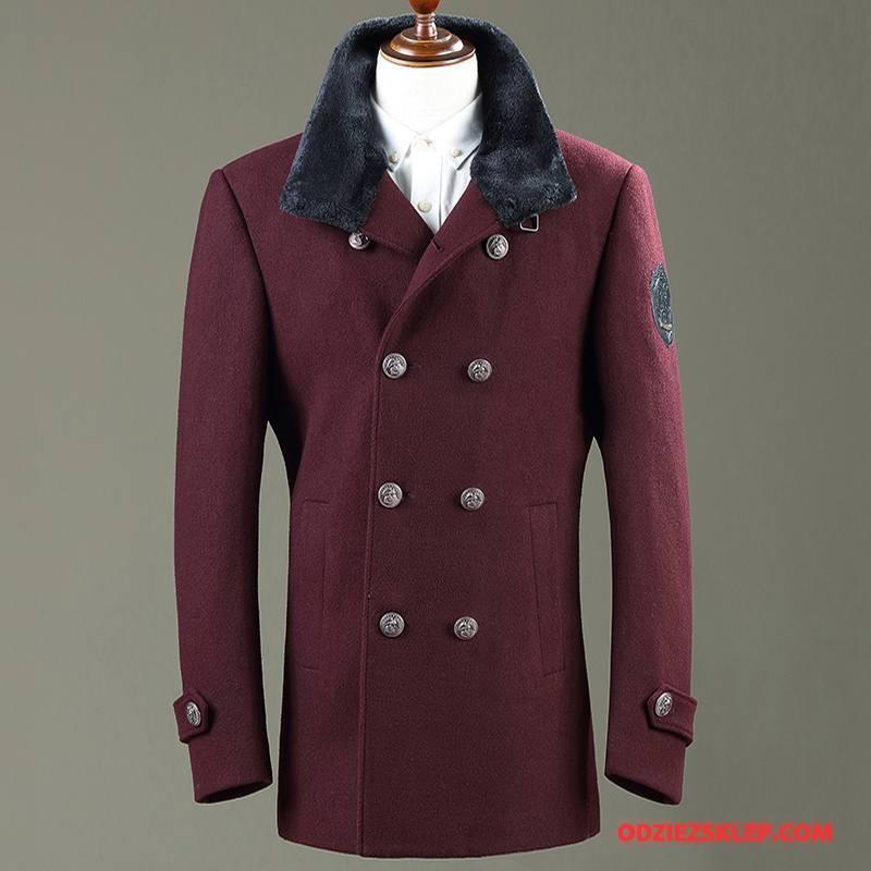 Męskie Płaszcze Wełna Z Wełny Dla Grubych Brytyjskie Prochowiec Wysoki Kołnierz Burgund Sprzedam