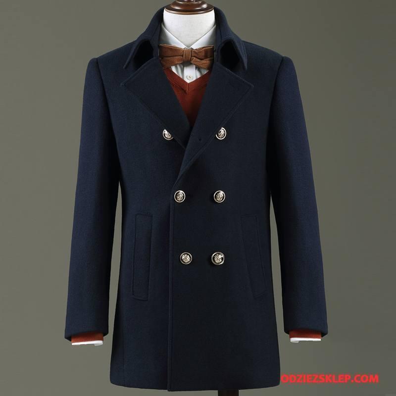 Męskie Płaszcze Z Wełny Męska Wełniana Wełna Specjalne Długie Ciemno Niebieski Sprzedam