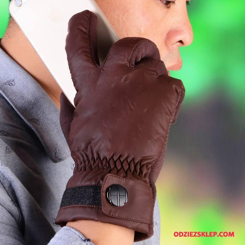 Męskie Rękawiczki Antypoślizgowe Jazdy Ciepły Aksamit Jesień Zima Brązowy Online
