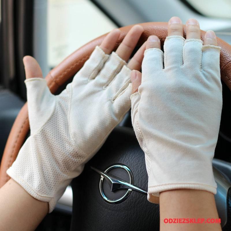 Męskie Rękawiczki Bawełna Lato Pół Palca Ochrona Przed Słońcem Dla Kierowców Antypoślizgowe Biały Sprzedam