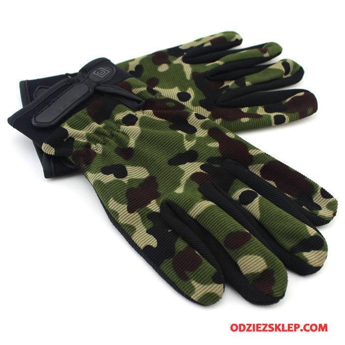 Męskie Rękawiczki Długie Cienkie Odporne Na Zużycie Lato Oddychające Antypoślizgowe Kamuflaż Zielony Tanie