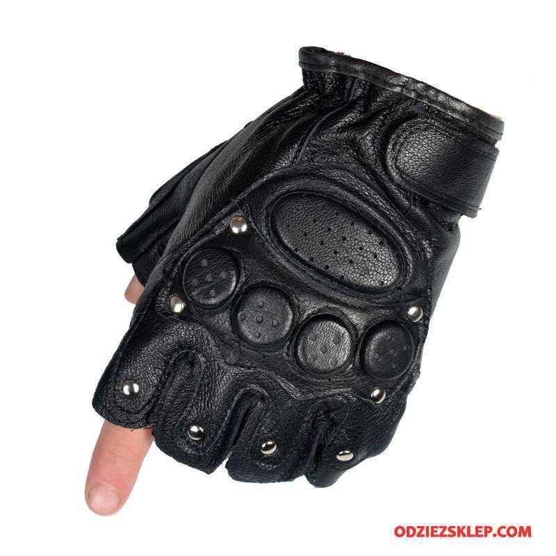 Męskie Rękawiczki Fitness Męska Jazdy Sportowe Skóra Owcza Dla Kierowców Czarny Sprzedam