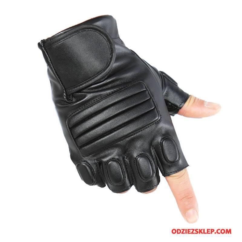 Męskie Rękawiczki Nowy Męska Outdoor Sportowe Ochrona Pół Palca Czarny Tanie