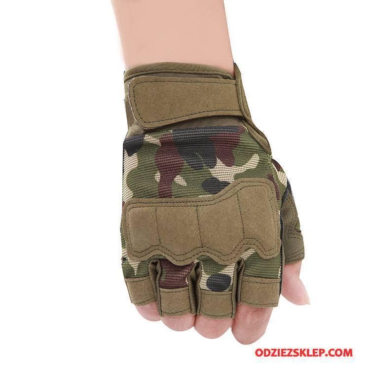 Męskie Rękawiczki Ochrona Pół Palca Trekkingowa Męska Taktyka Outdoor Kamuflaż Zielony Sklep