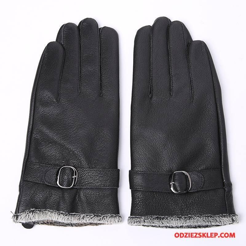 Męskie Rękawiczki Prawdziwa Skóra Klamra Z Bawełny Utrzymuj Ciepło Aksamit Buckskin Czarny Kup