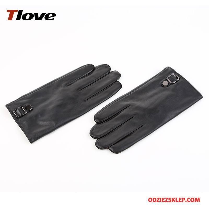 Męskie Rękawiczki Utrzymuj Ciepło Zima Biznes Moda Aksamit Męska Czarny Sprzedam