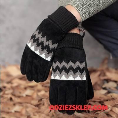 Męskie Rękawiczki Wiatroodporny Jazdy Utrzymuj Ciepło Męska Jesień Ciepły Czarny Kup