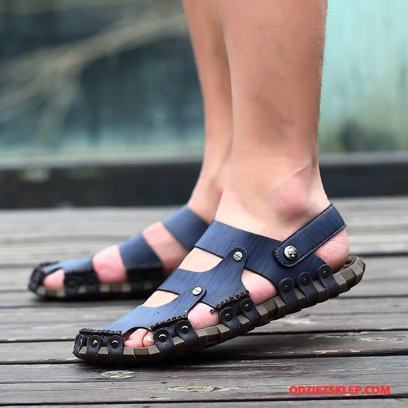Męskie Sandały 2018 Męska Tendencja Gorąca Sprzedaż Moda Oddychające Niebieski Tanie