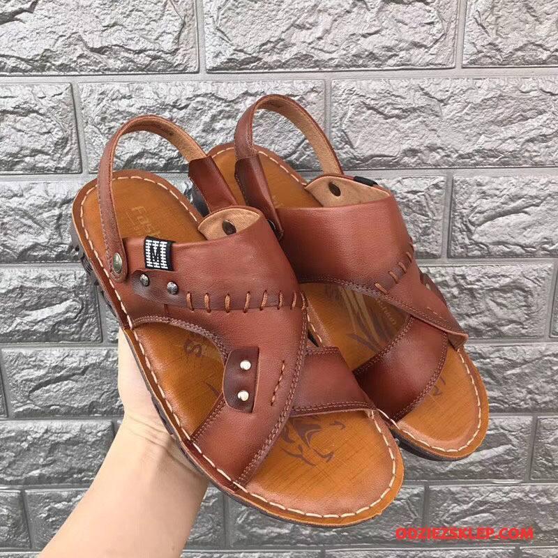 Męskie Sandały Buty Plażowe Męska Gorąca Sprzedaż Kapcie Prawdziwa Skóra Brązowy Kup