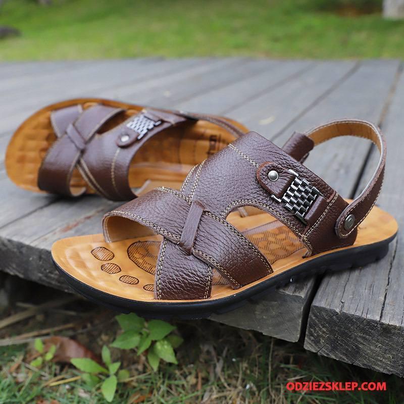 Męskie Sandały Buty Wiosna Plażowe Męska Prawdziwa Skóra Kapcie Brązowy Sklep