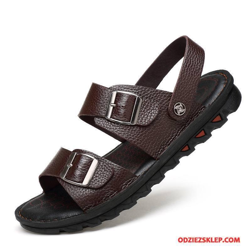 Męskie Sandały Casual Buty Męska Plażowe Lato Prawdziwa Skóra Brązowy Sprzedam