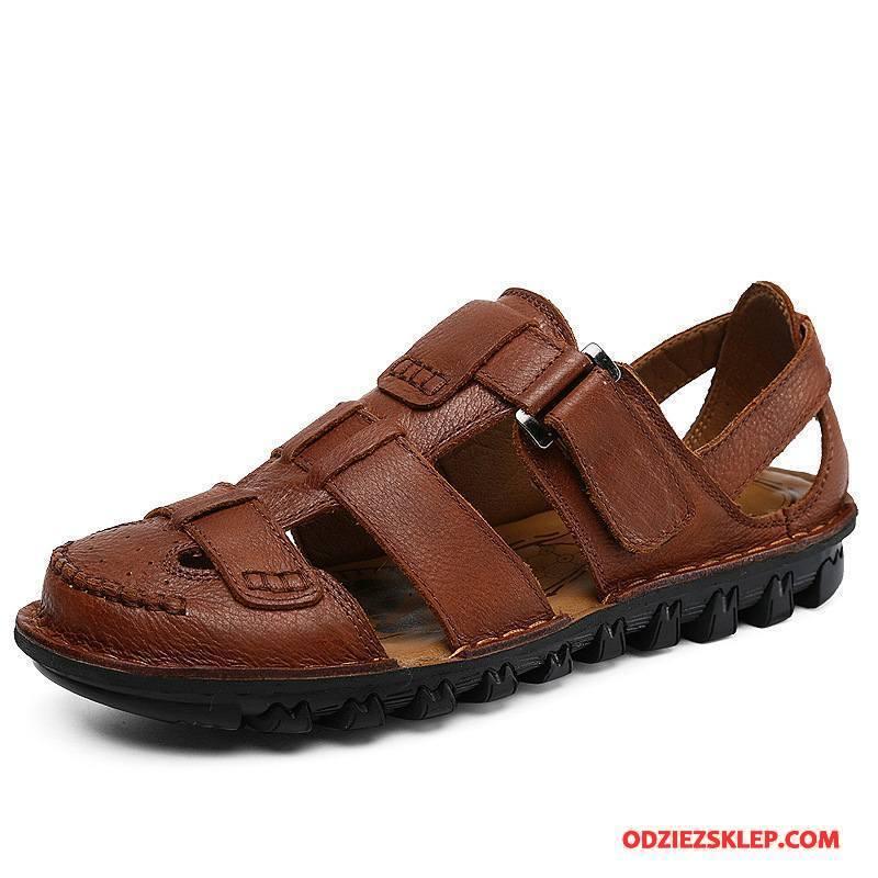 Męskie Sandały Casual Tendencja Skóra Buty Plażowe Każdego Dnia Brązowy Tanie