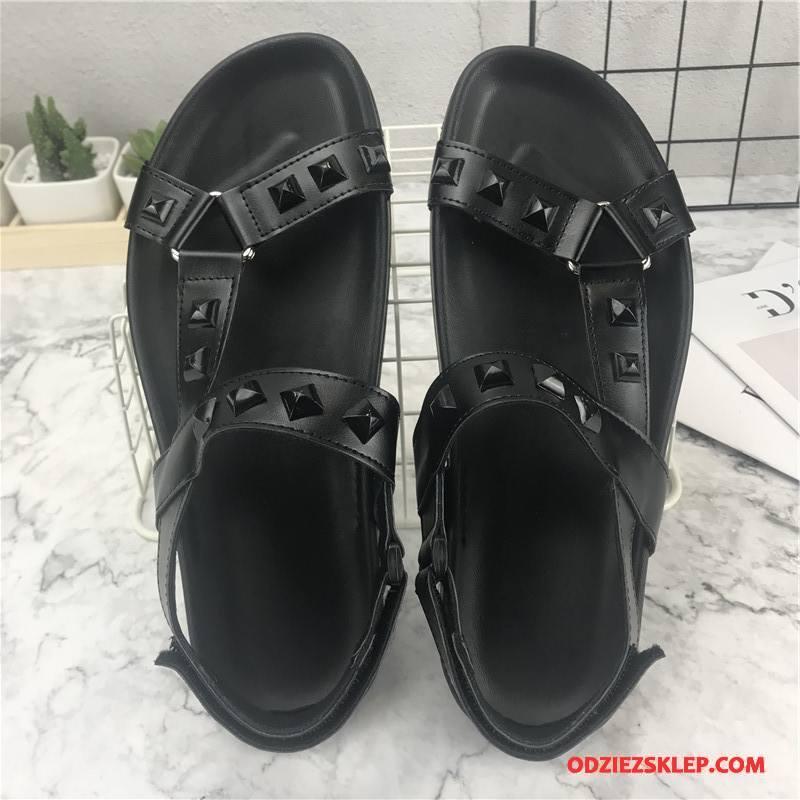 Męskie Sandały Męska Rzym Lato Casual Plażowe Moda Czarny Tanie