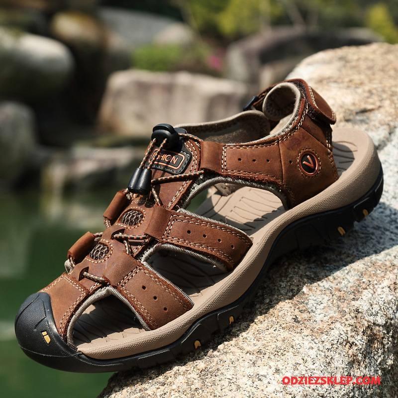 Męskie Sandały Outdoor Plażowe Buty Męska Casual Lato Brązowy Tanie