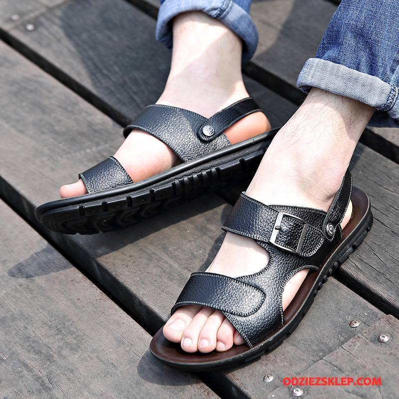 Męskie Sandały Plażowe Buty Casual Tendencja Duży Rozmiar Wiosna Czarny Sklep