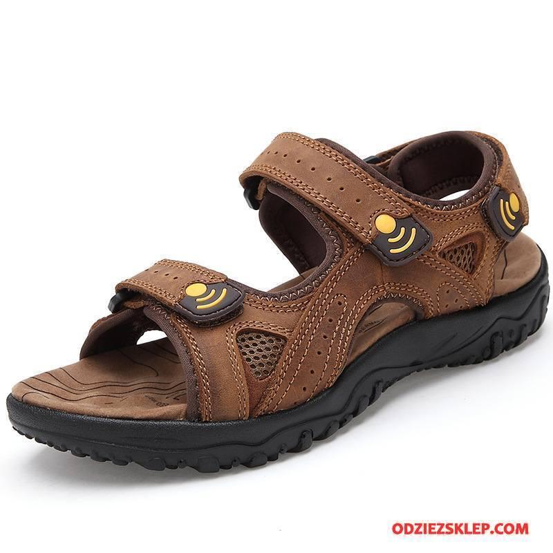 Męskie Sandały Plażowe Lato Prawdziwa Skóra Buty Skóra Bydlęca Outdoor Brązowy Kupię
