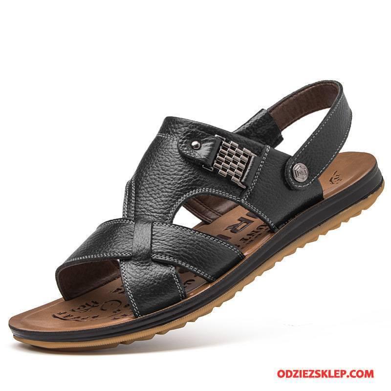 Męskie Sandały Plażowe Moda Lato Kapcie Buty Casual Czarny Tanie