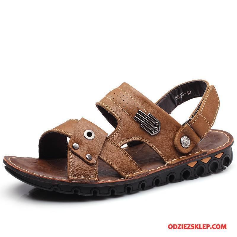 Męskie Sandały Prawdziwa Skóra Oddychające Lato Buty Casual Męska Khaki Sprzedam