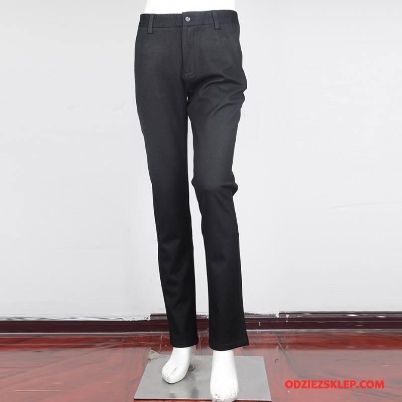 Męskie Spodnie Garniturowe Bawełna Biznes Proste Casual Nowy Moda Czarny Sprzedam