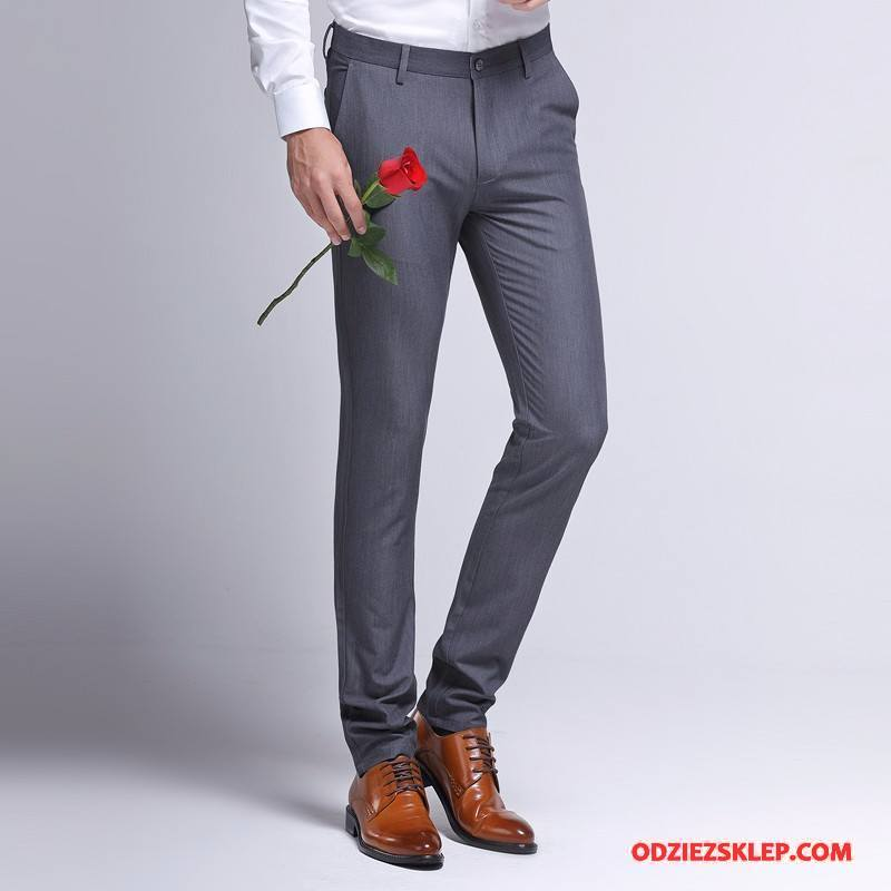 Męskie Spodnie Garniturowe Biznes Slim Fit Męska Casualowe Spodnie Lato Szary Kup