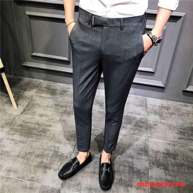 Męskie Spodnie Garniturowe Brytyjskie Casual Długie 2018 Cienka Męska Szary Sprzedam