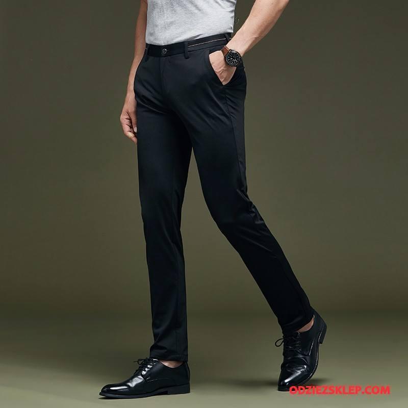 Męskie Spodnie Garniturowe Casualowe Spodnie Spodnie Cargo Cienkie Lato Biznes Elastyczne Czarny Online