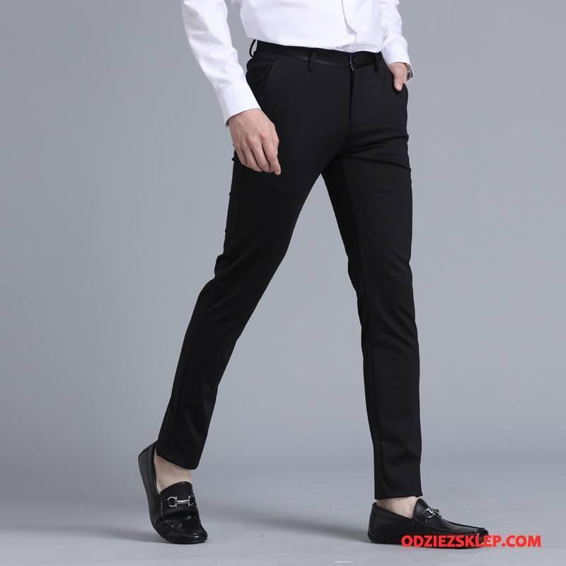 Męskie Spodnie Garniturowe Cienkie Mały Wiosna Casualowe Spodnie Brytyjskie Slim Fit Czarny Tanie