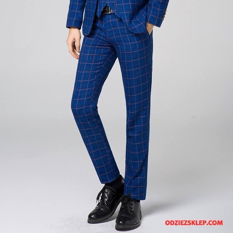 Męskie Spodnie Garniturowe Krata Niebieski Tanie