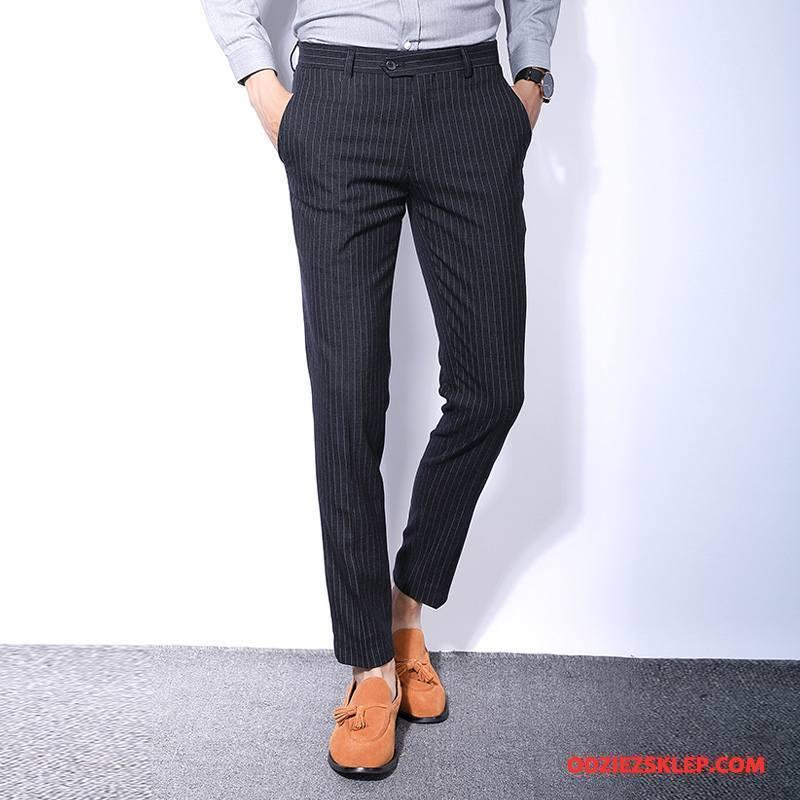 Męskie Spodnie Garniturowe Nowy Wiosna Casualowe Spodnie W Paski Czarny Sklep