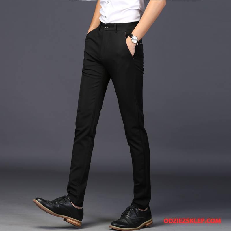 Męskie Spodnie Garniturowe Ołówkowe Spodnie Slim Fit Męska Casualowe Spodnie Biznes Młodzież Czarny Tanie