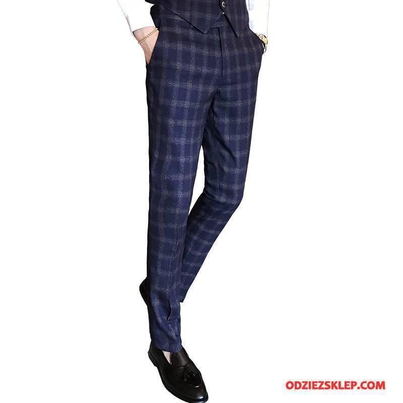 Męskie Spodnie Garniturowe Slim Fit Ołówkowe Spodnie Jesień Krata Tendencja Szerokie Ciemno Niebieski Tanie