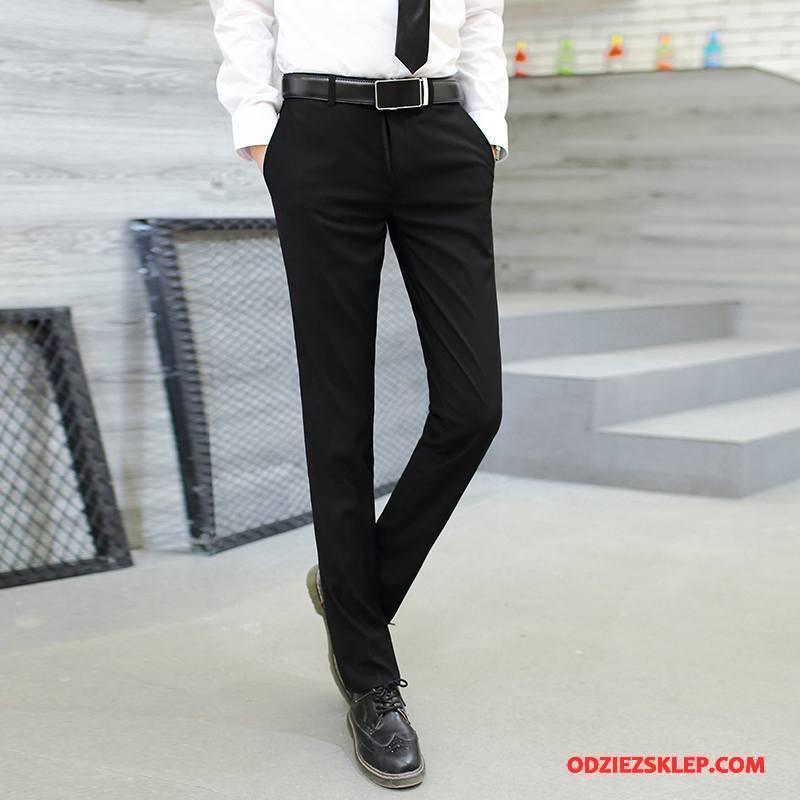 Męskie Spodnie Garniturowe Tendencja Biurowe Biznes Męska Slim Fit Casualowe Spodnie Szary Tanie